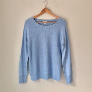 J. Crew Blue Waffle Knit Sweater Size Large